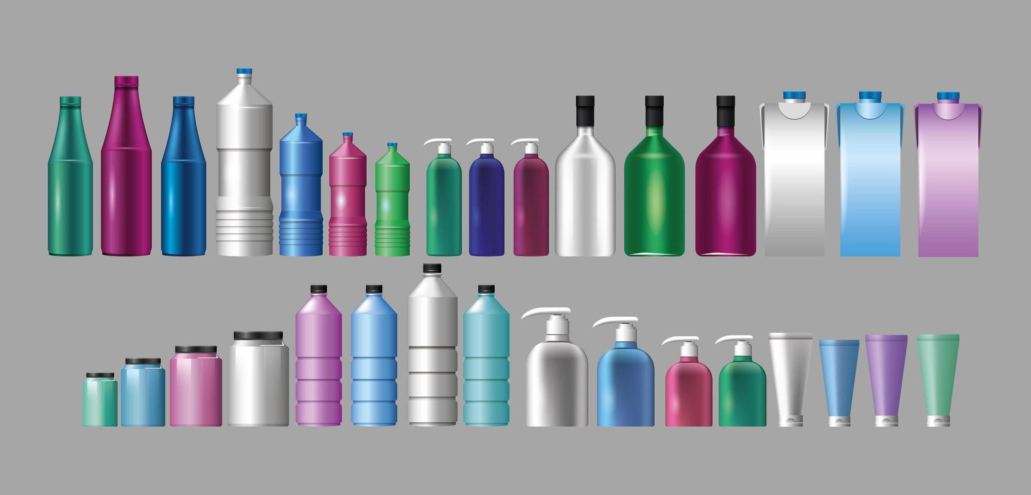 insieme di materiali e stili bottiglie prodotti vettore