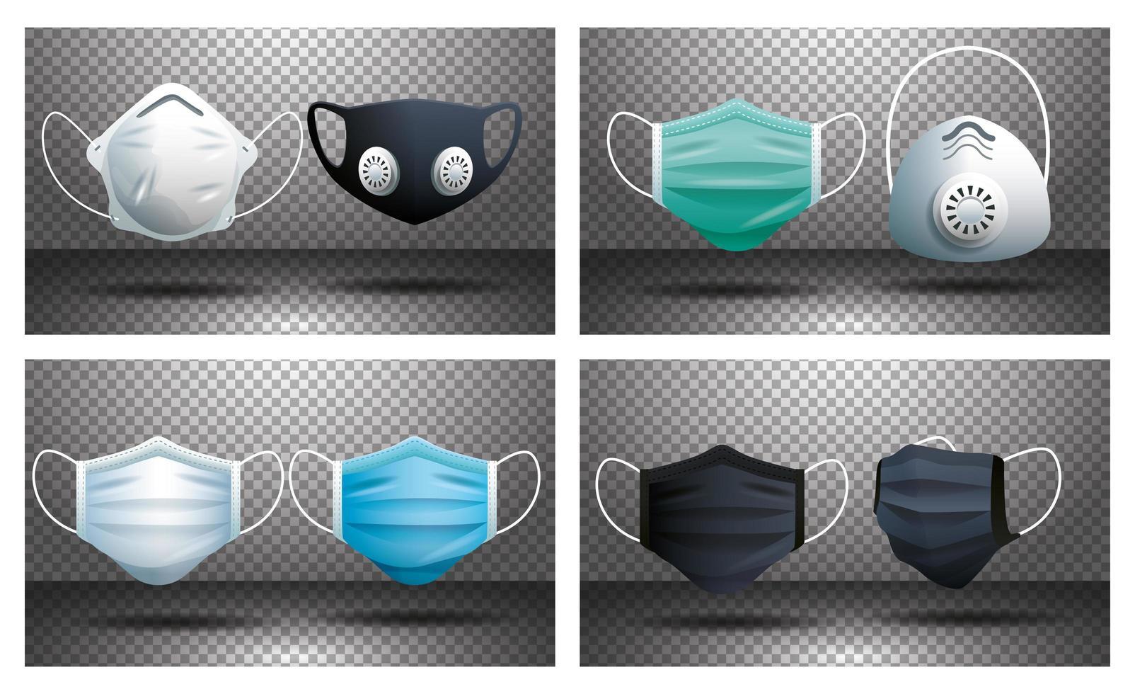 set di maschere protettive vettore