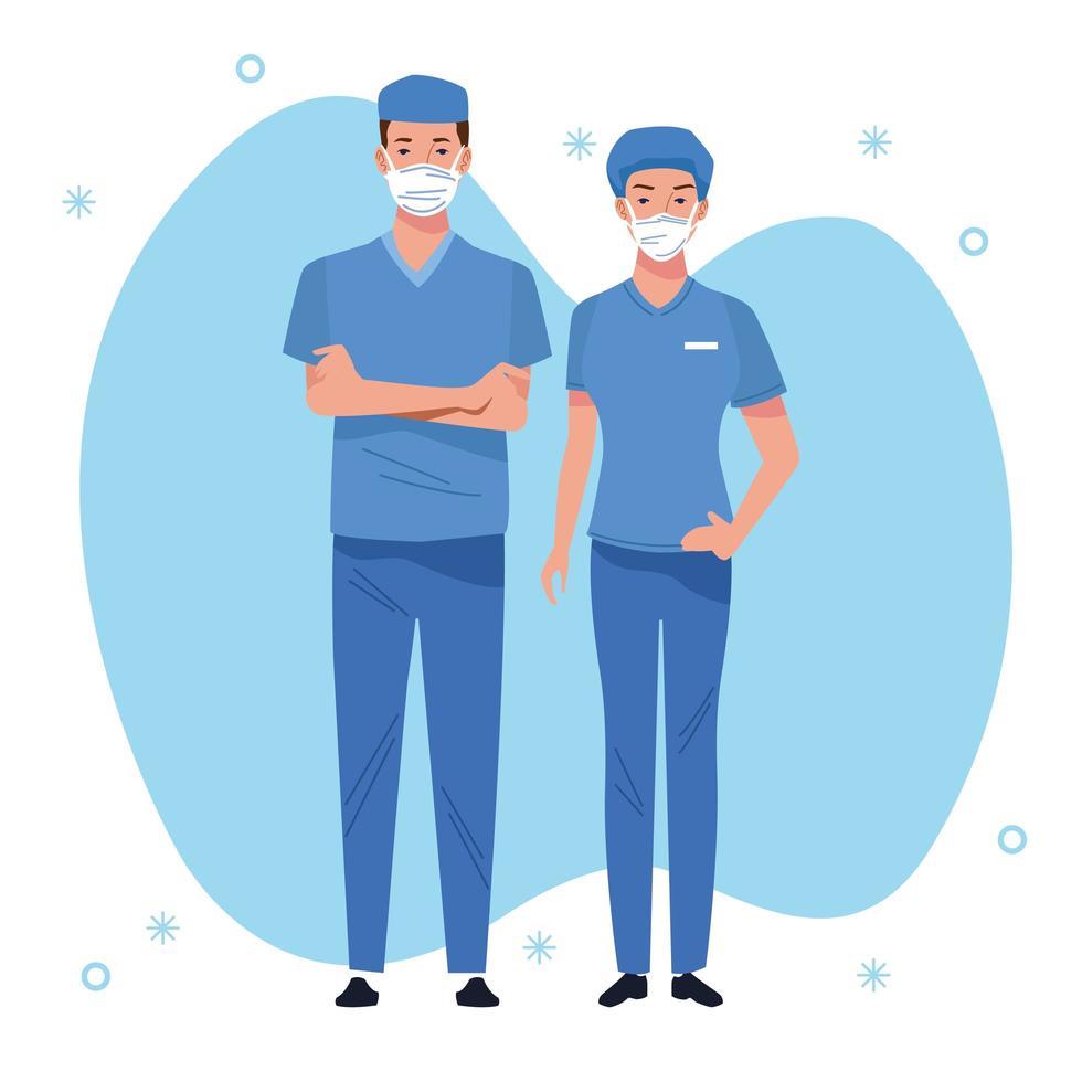 coppia di operatori sanitari del personale medico vettore