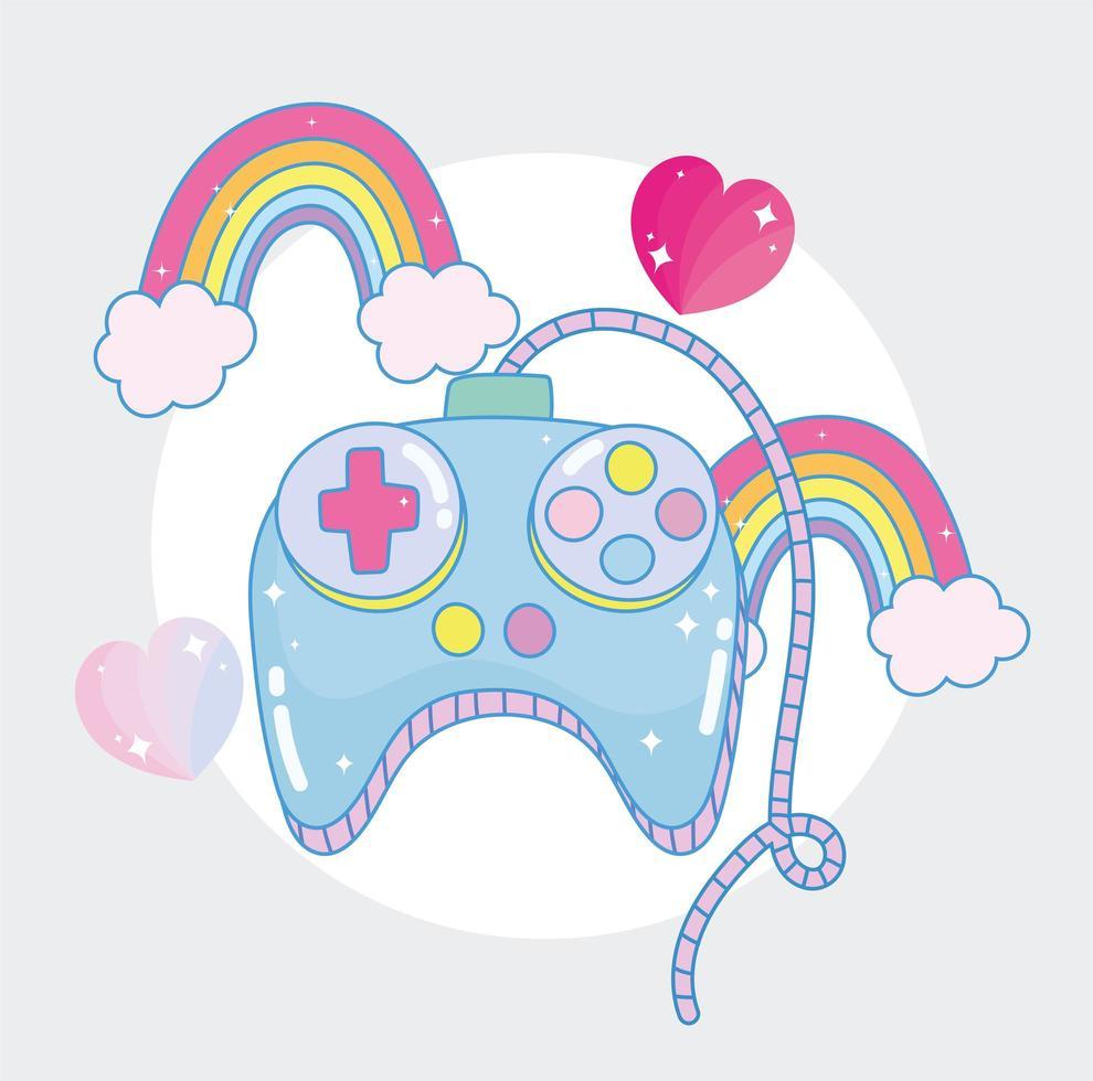 controllo di videogiochi con arcobaleni e cuori vettore