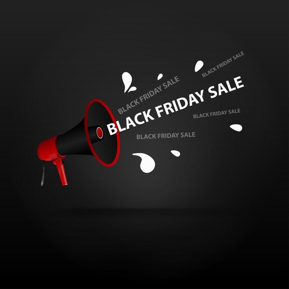 scritte in vendita venerdì nero con un megafono vettore