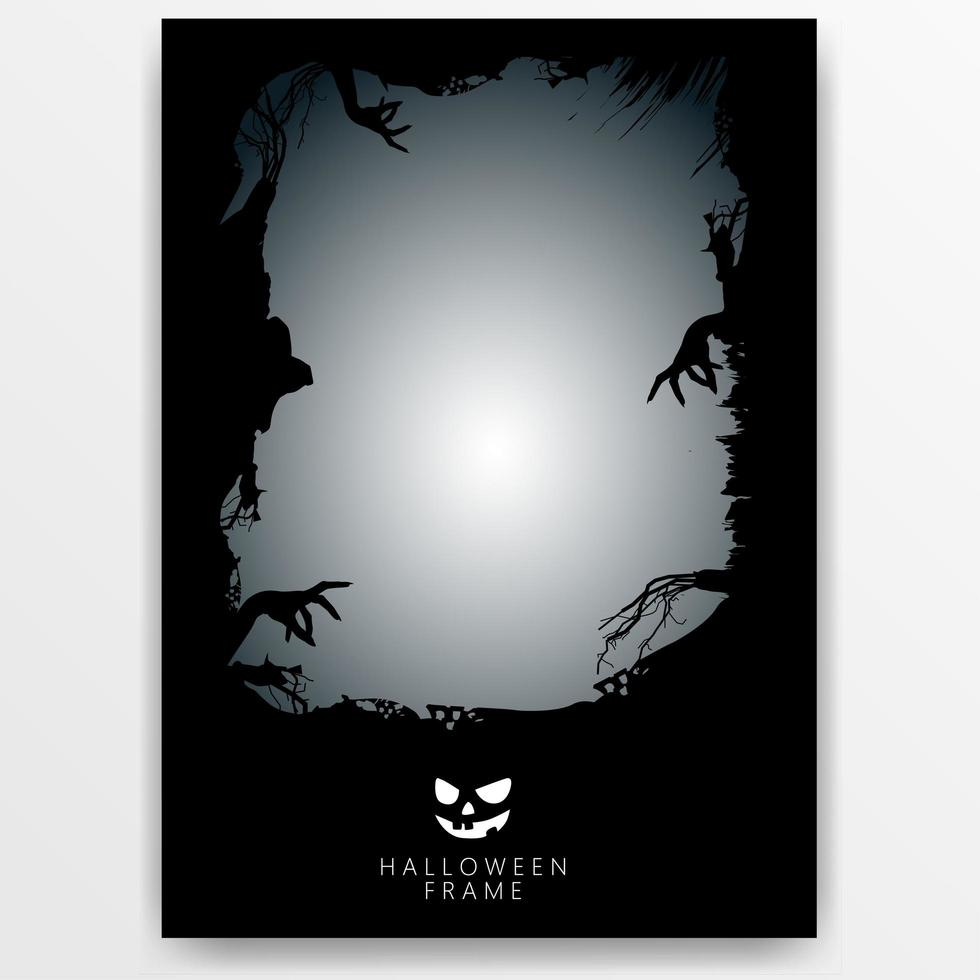 modello di banner cornice di halloween scuro vettore