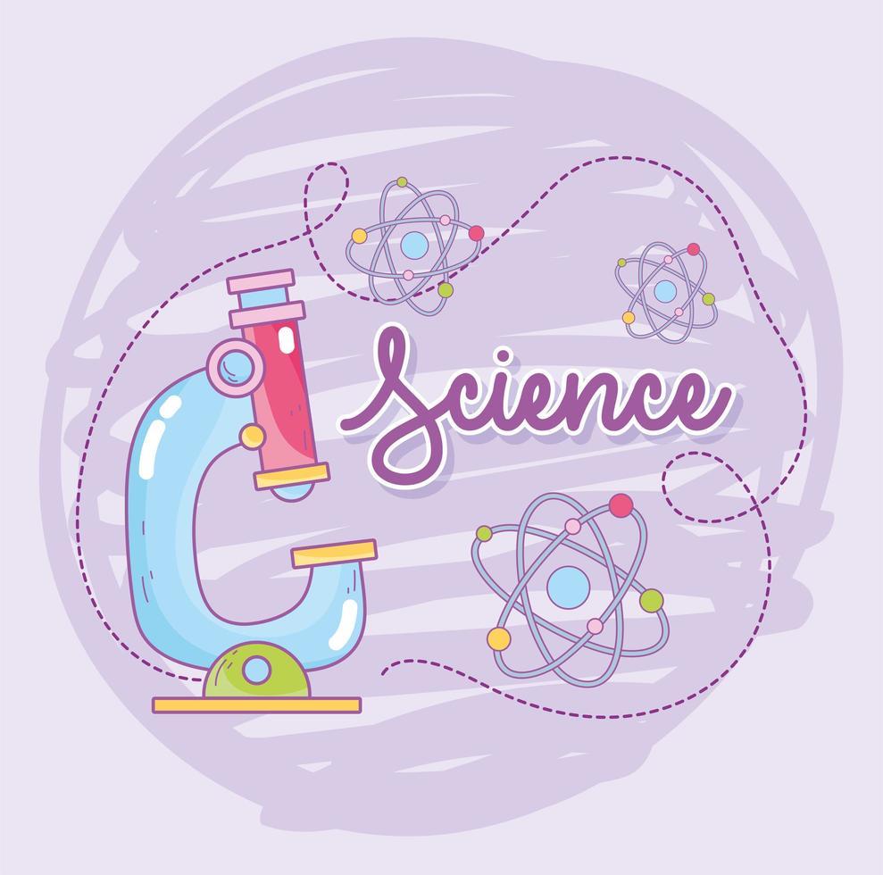scienza e microbiologia con microscopio e molecole di atomi vettore