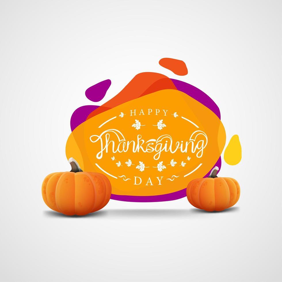 modello di banner di ringraziamento con forme astratte e zucche vettore