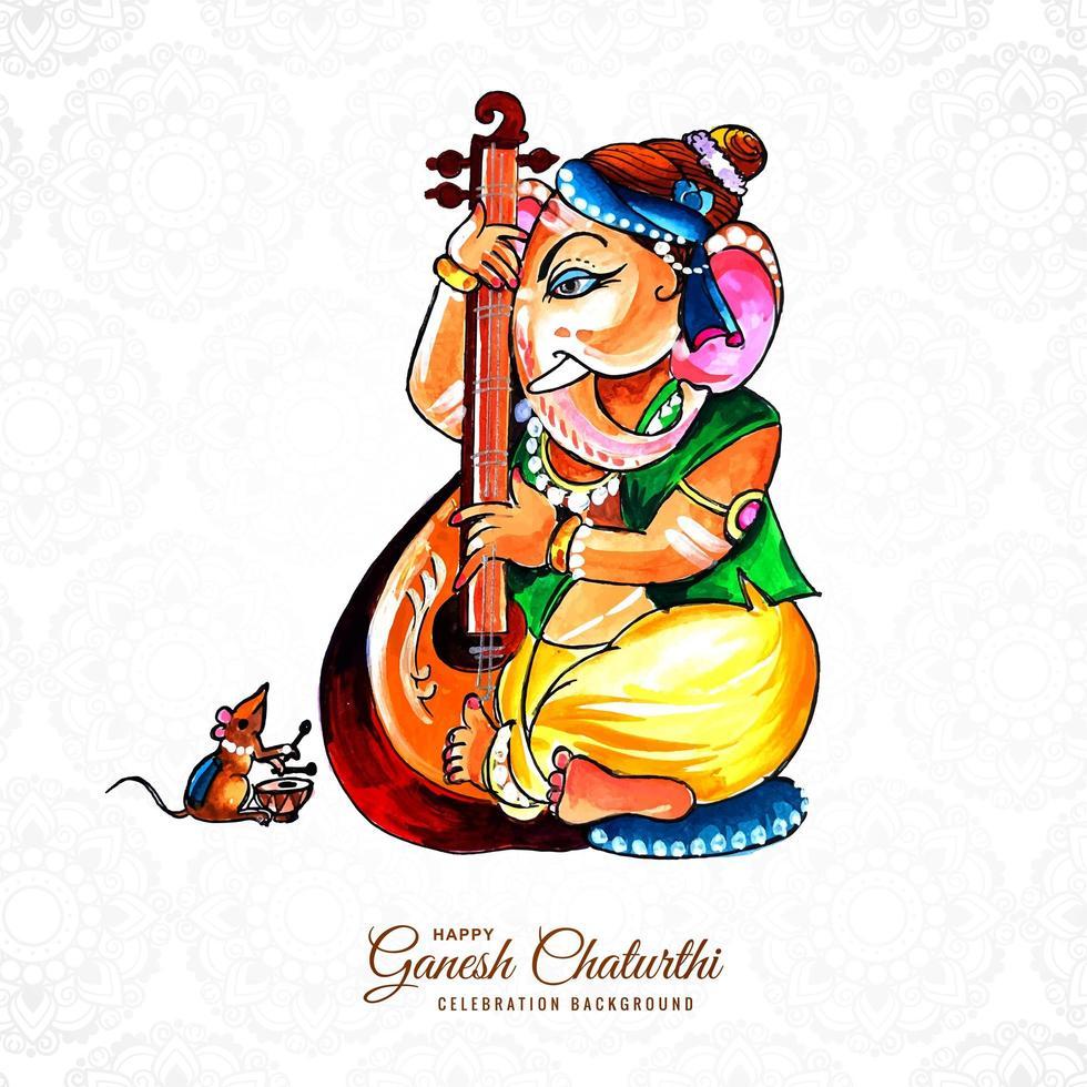 lord ganesha suona il sitar acquerello per ganesh chaturthi vettore