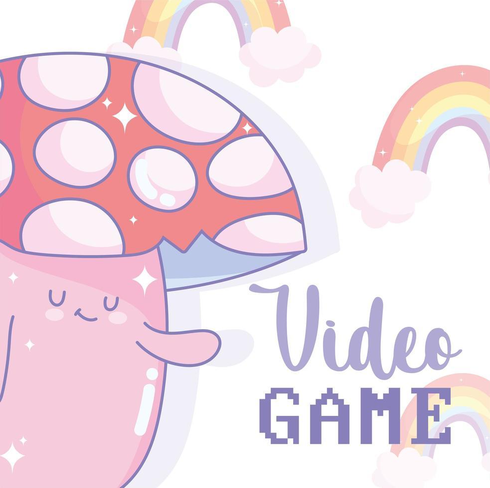 personaggio dei funghi con scritte di videogiochi e arcobaleni vettore