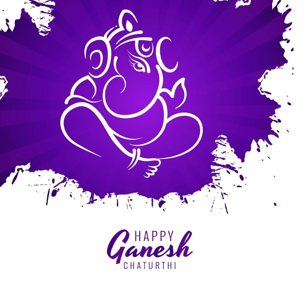 ganesh chaturthi festival augura carta sfondo vernice viola vettore