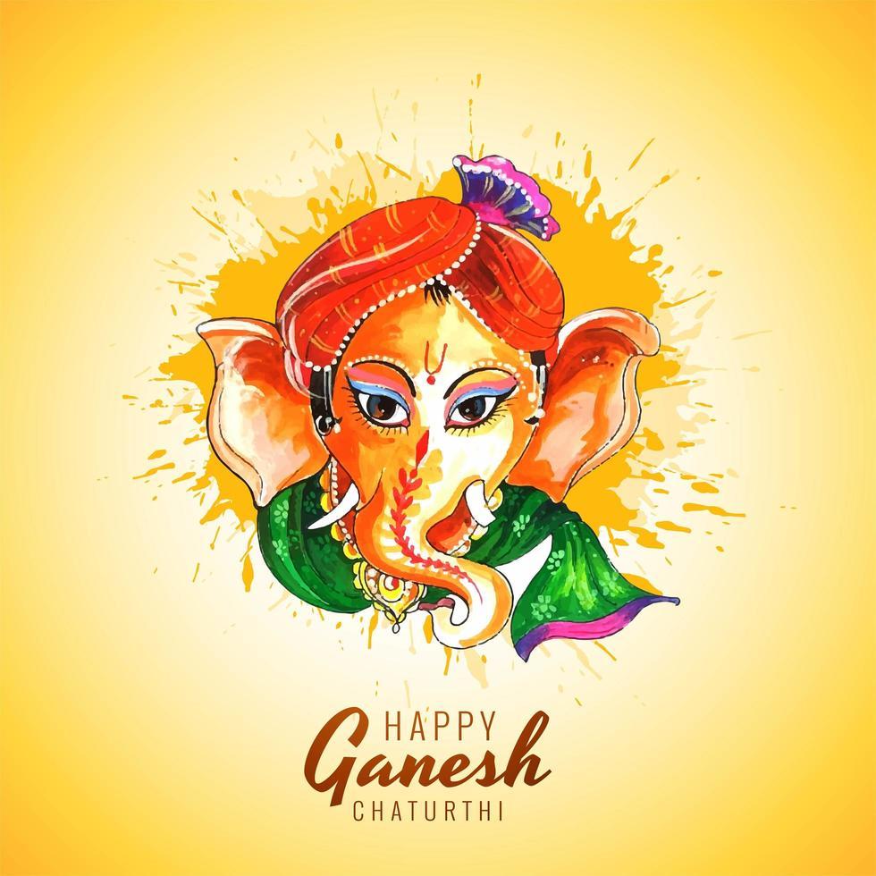 acquerello colorato ganesh chaturthi festival auguri carta vettore