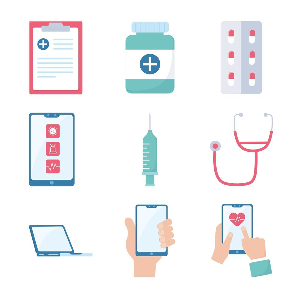 set di icone di medicina e farmacia online vettore
