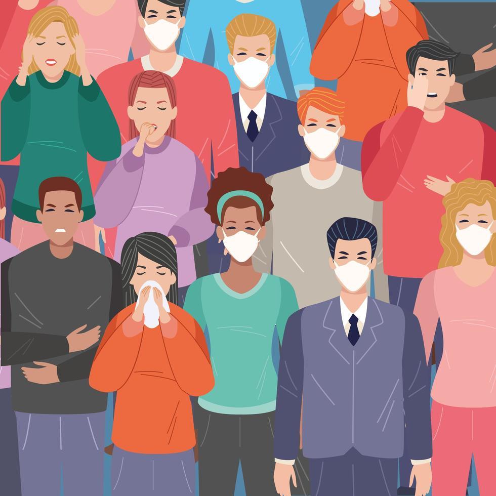 gruppo di persone malate con sintomi covid 19 vettore