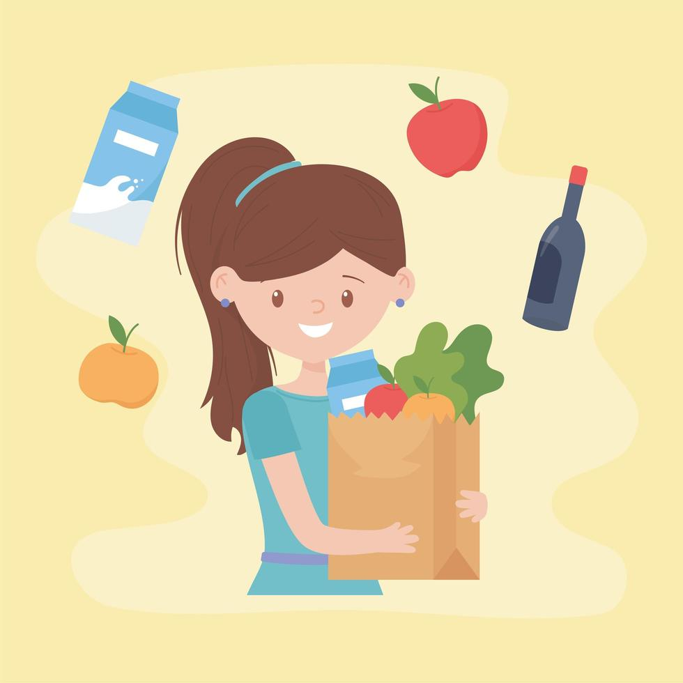donna che tiene un sacchetto di carta pieno di generi alimentari vettore