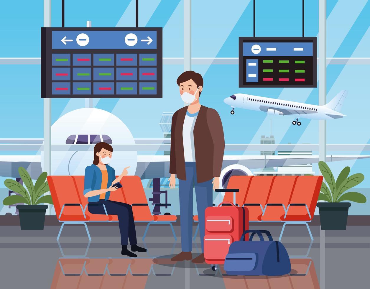 viaggiatori che utilizzano mascherina medica in aeroporto vettore
