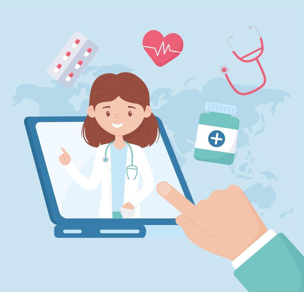 consulenza sanitaria online e assistenza con una dottoressa vettore