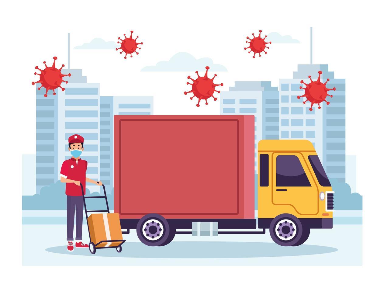 corriere con servizio di consegna camion con particelle di coronavirus vettore
