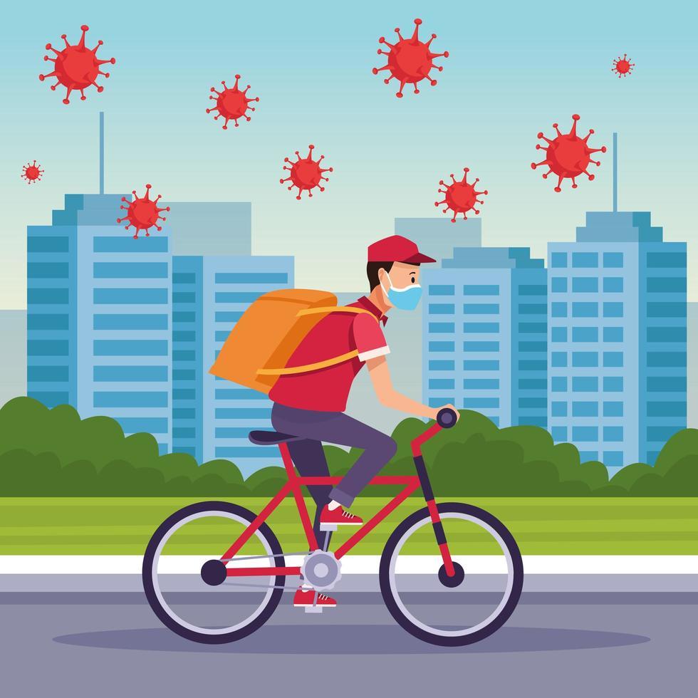 corriere in bicicletta in servizio di consegna con covid 19 particelle vettore