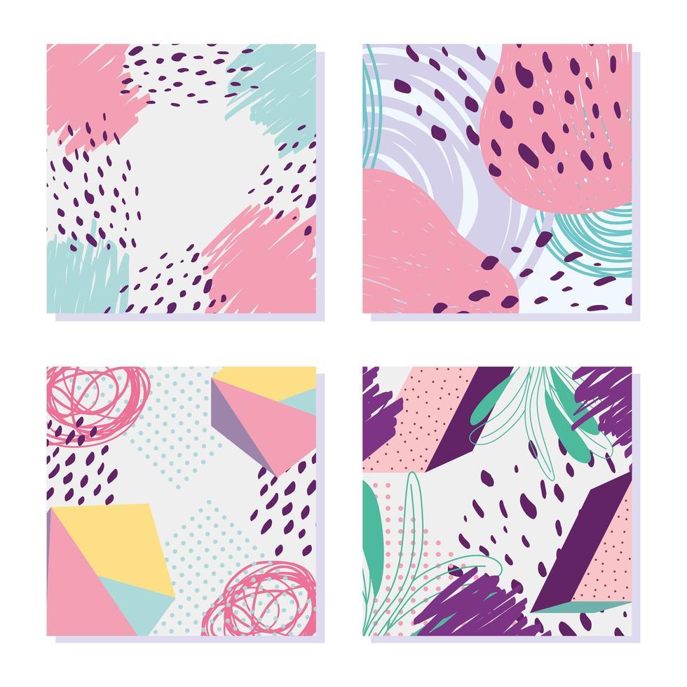 pacchetto di carte astratte e geometriche in stile memphis vettore