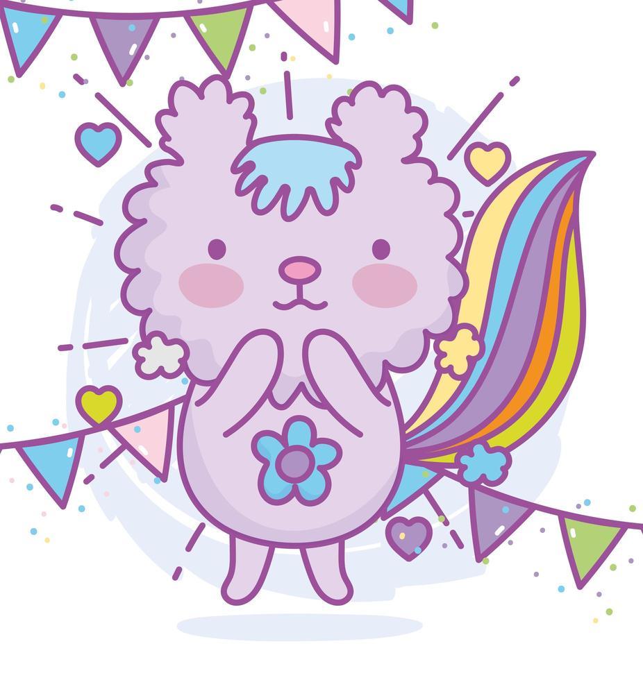 personaggio animale kawaii con decorazioni per feste vettore