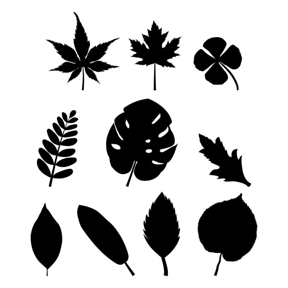 sagome di foglie nere vettore