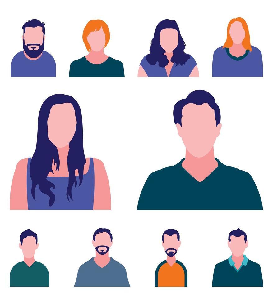 personaggi avatar profilo senza volto vettore