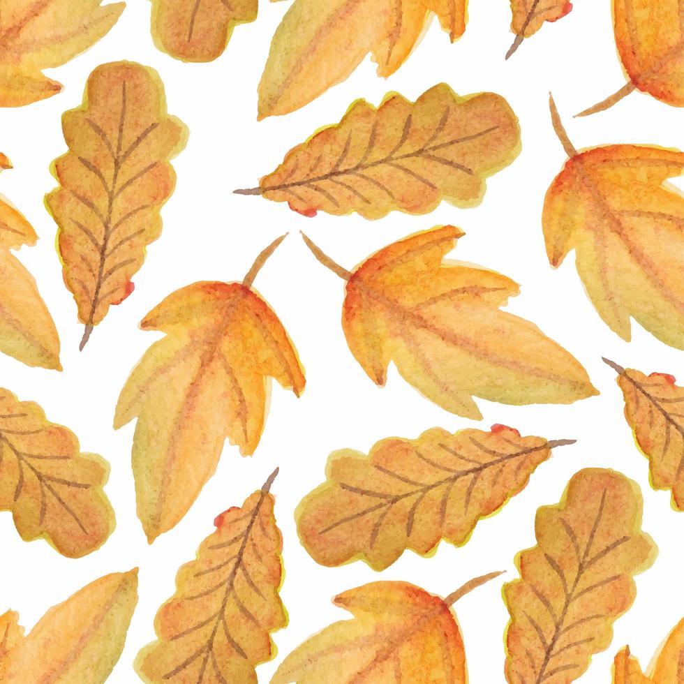 acquerello autunno autunno foglia seamless pattern vettore