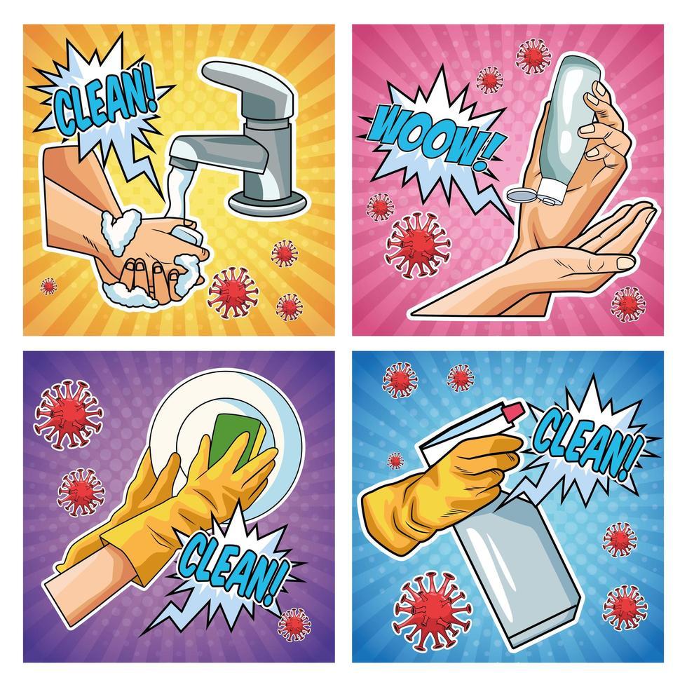 metodi di prevenzione covid 19 pandemie icone in stile pop art vettore