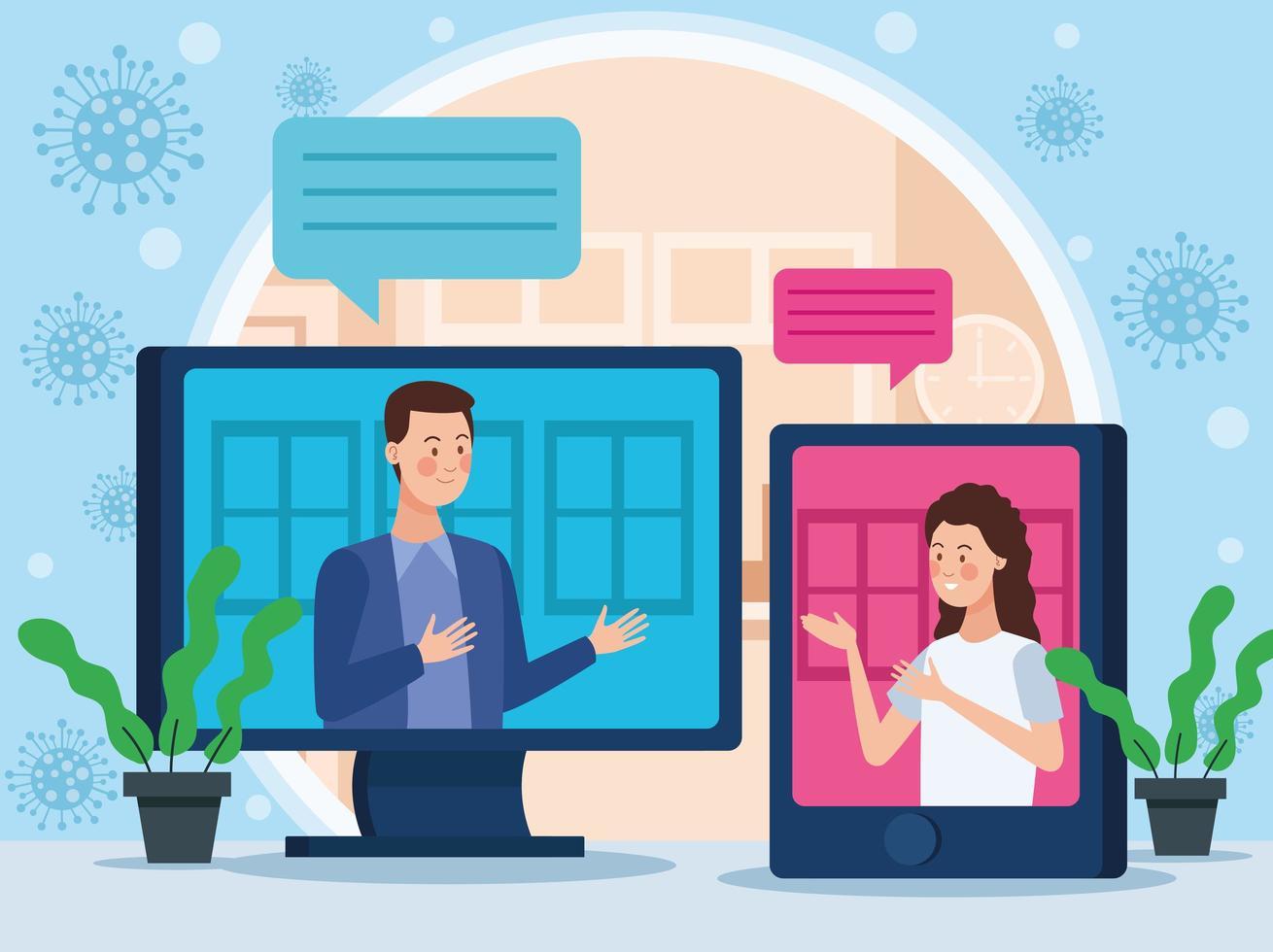 coppia di affari nella riunione online vettore
