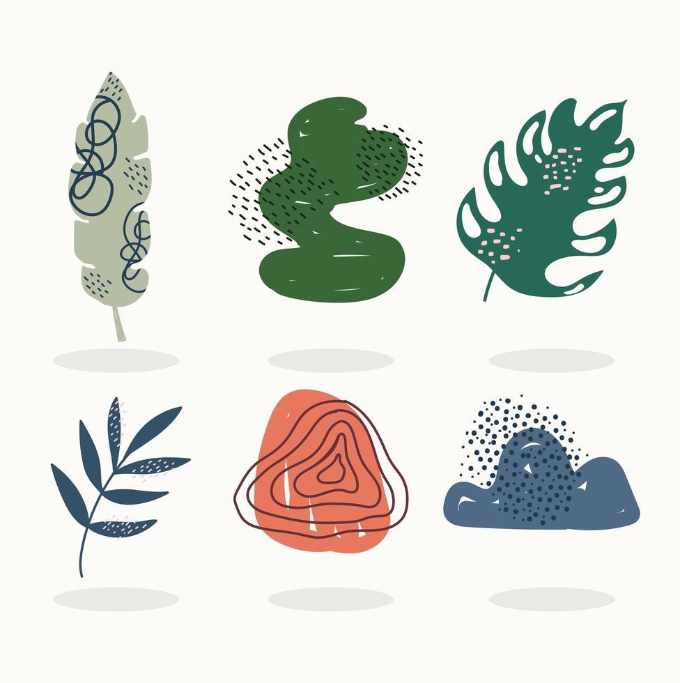 set di icone contemporanee foglie e scarabocchi vettore