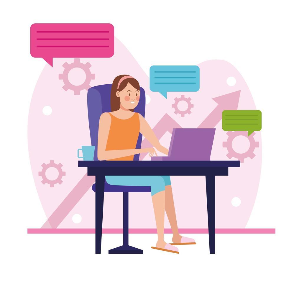 imprenditrice in riunione online all'interno della casa vettore