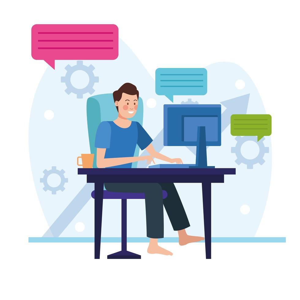 uomo d'affari in una riunione online vettore