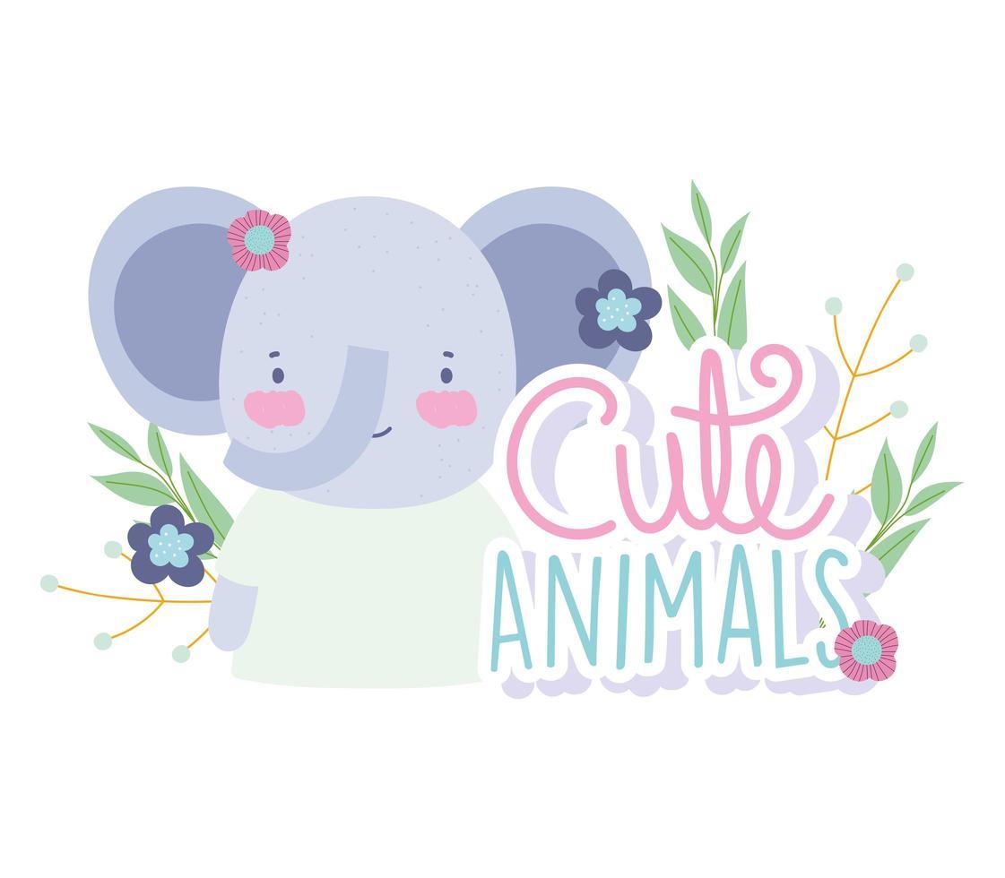 piccolo elefante carino con fiori e scritte vettore