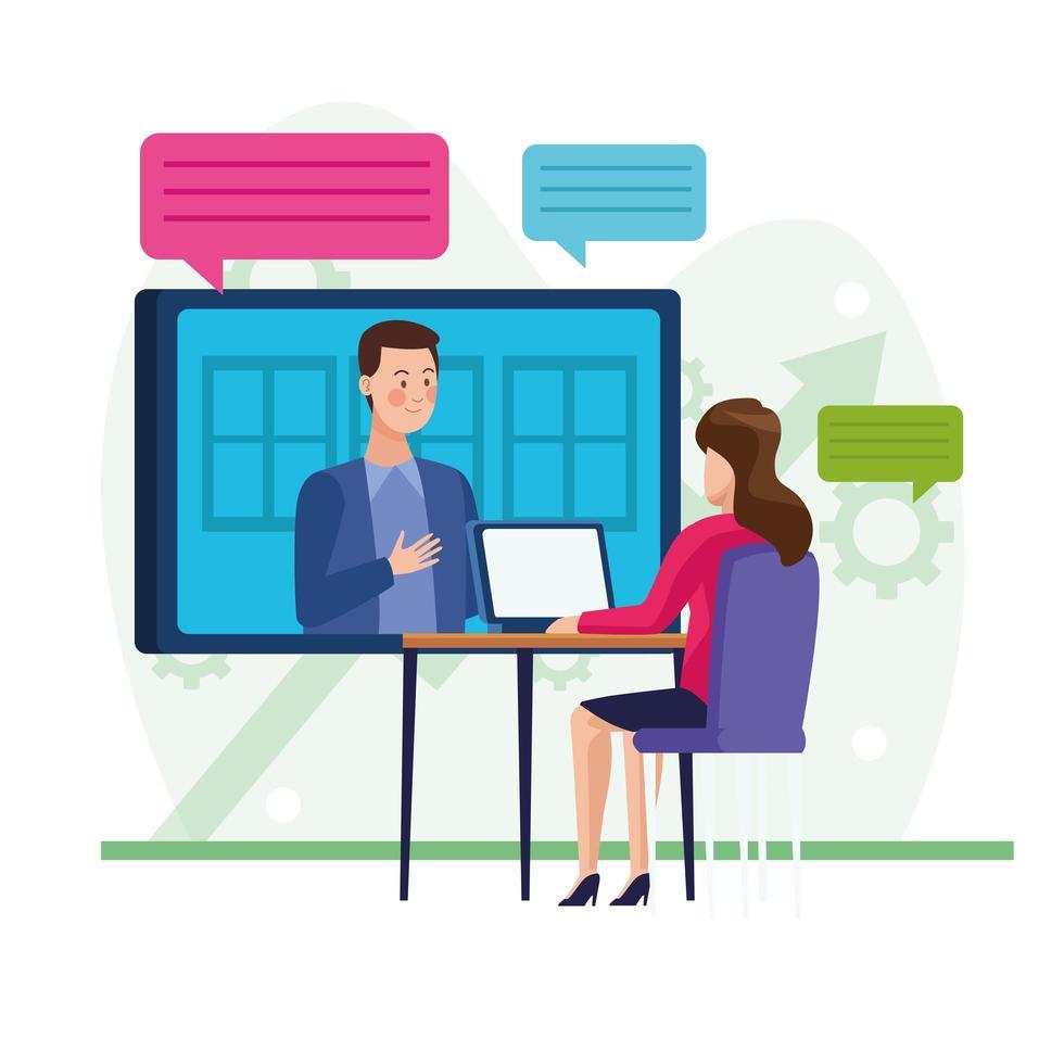 colleghi di lavoro in riunione online vettore