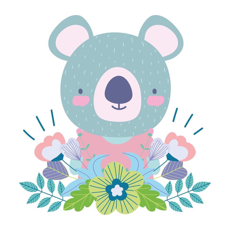 carino koala con fiori e fogliame vettore