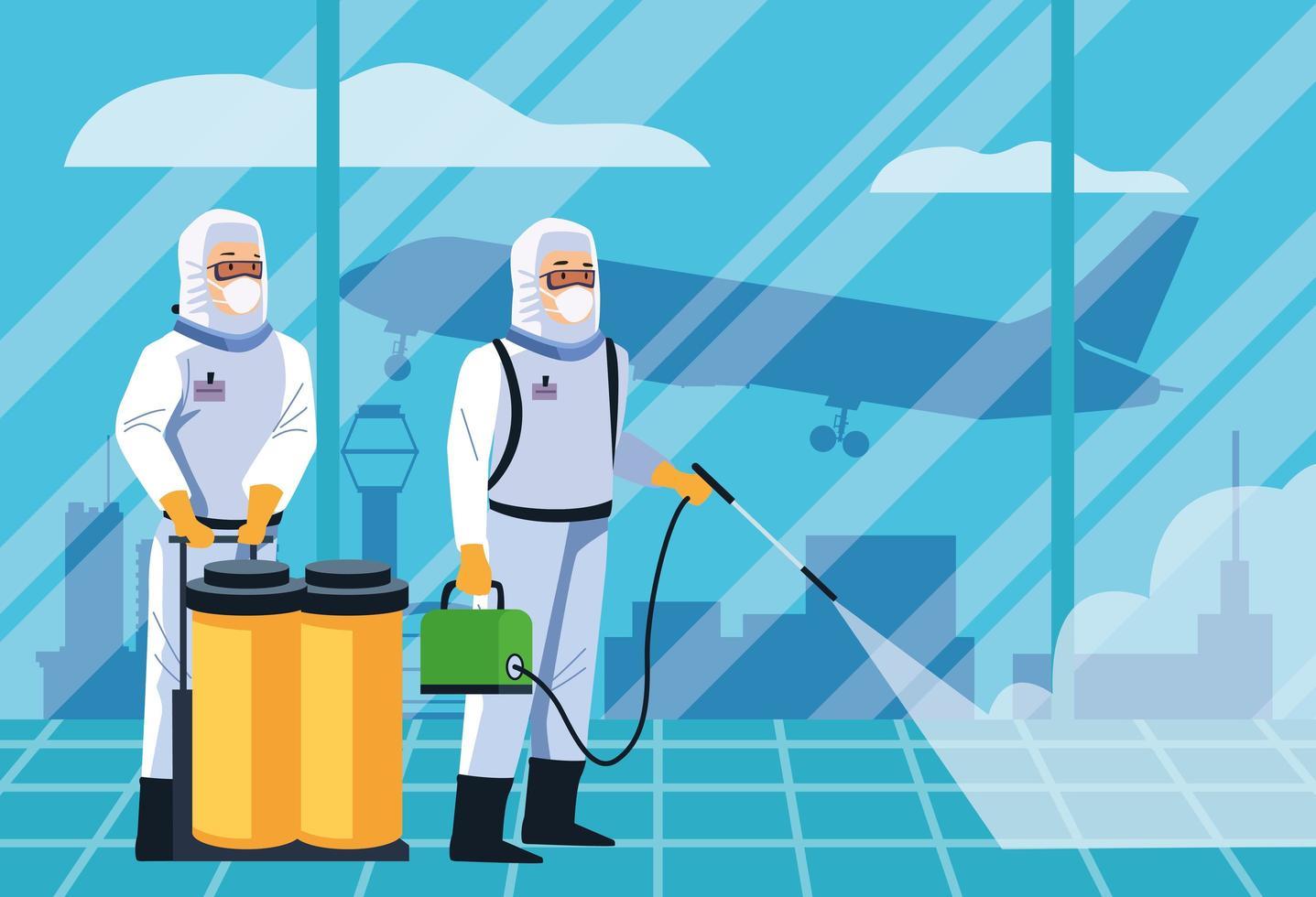 i lavoratori della biosicurezza disinfettano l'aeroporto per covid 19 vettore