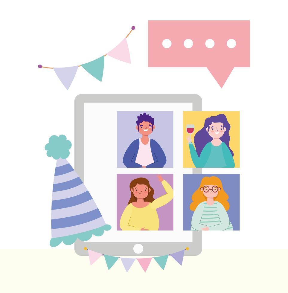 amici che si incontrano su una festa online e celebrazione sul tablet vettore
