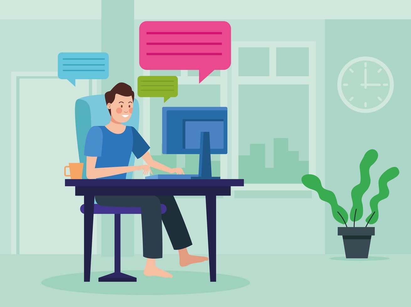 uomo d'affari in riunione online all'interno della sua casa vettore