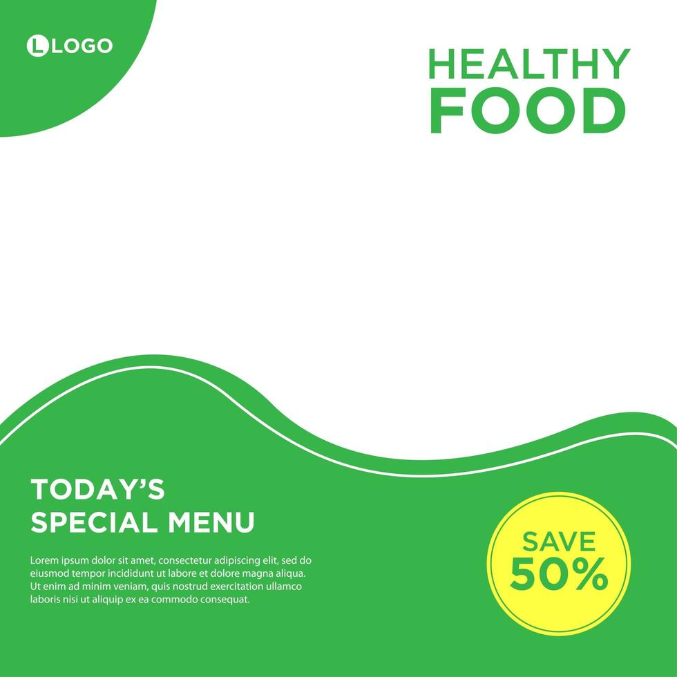 post sui social media per cibo sano vettore