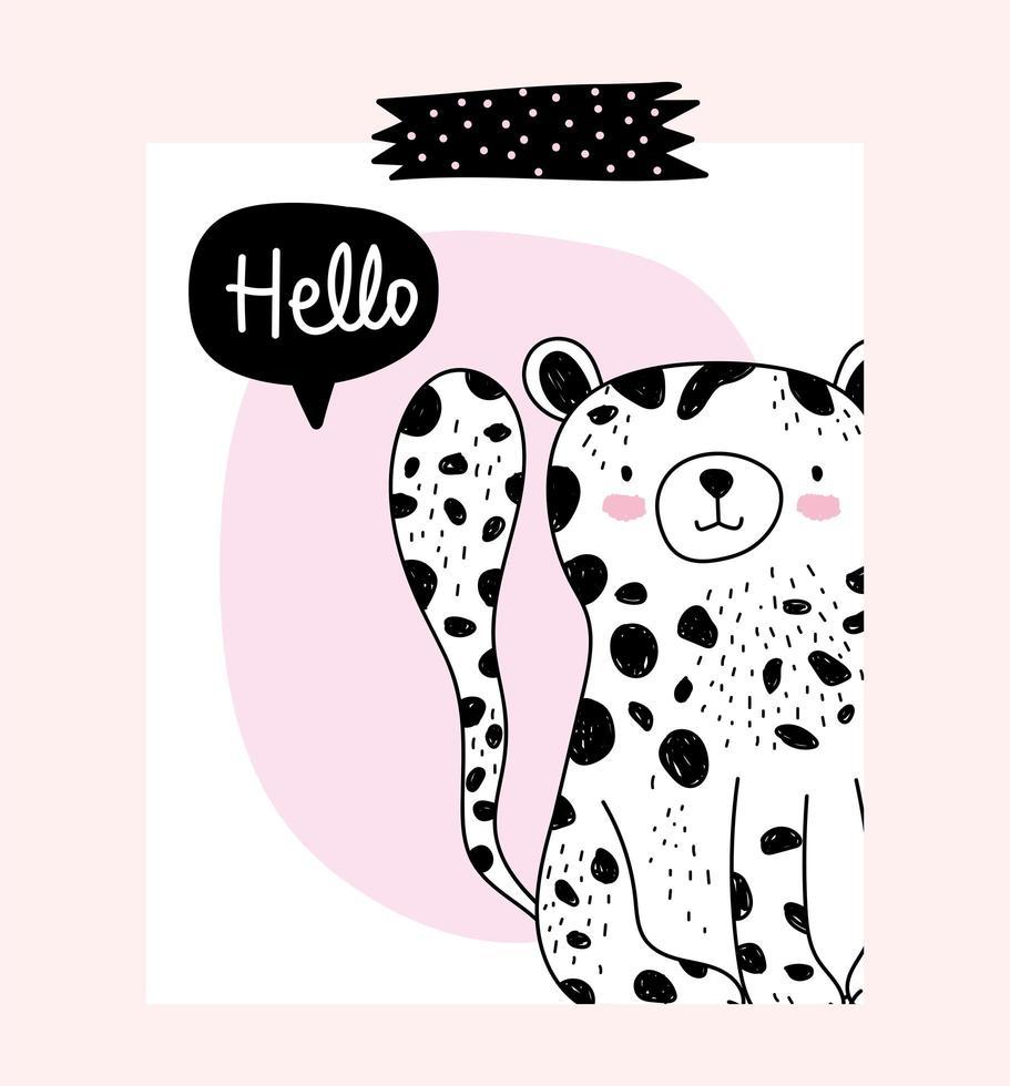 piccolo leopardo con messaggio di saluto vettore