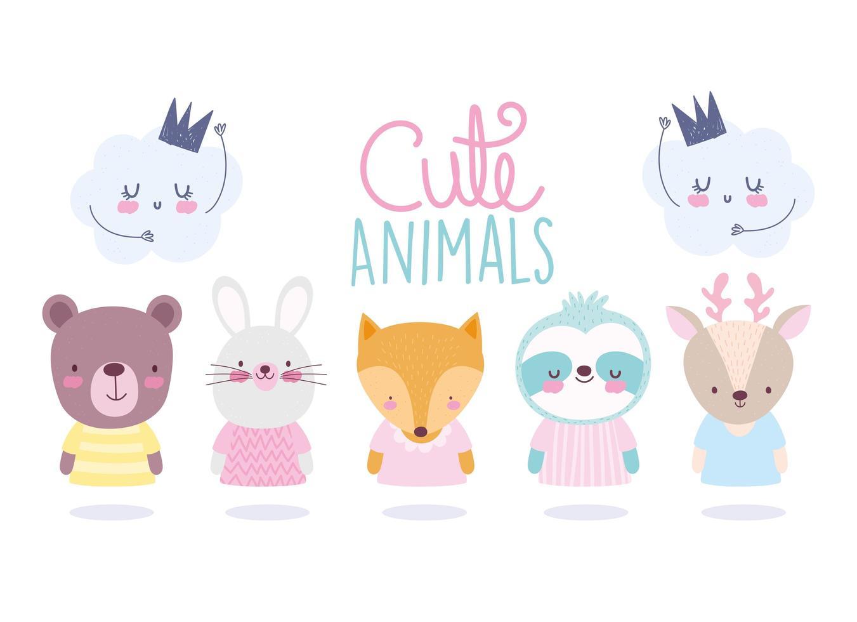 set di simpatici animali personaggi con icone cloud vettore