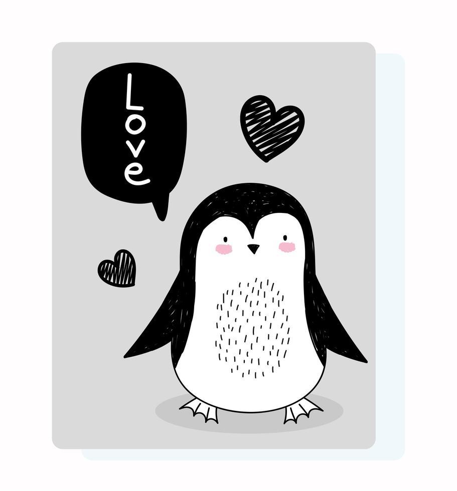 piccolo pinguino con messaggio di saluto vettore