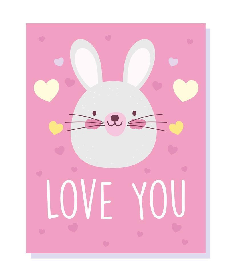modello di carta romantico coniglio carino vettore