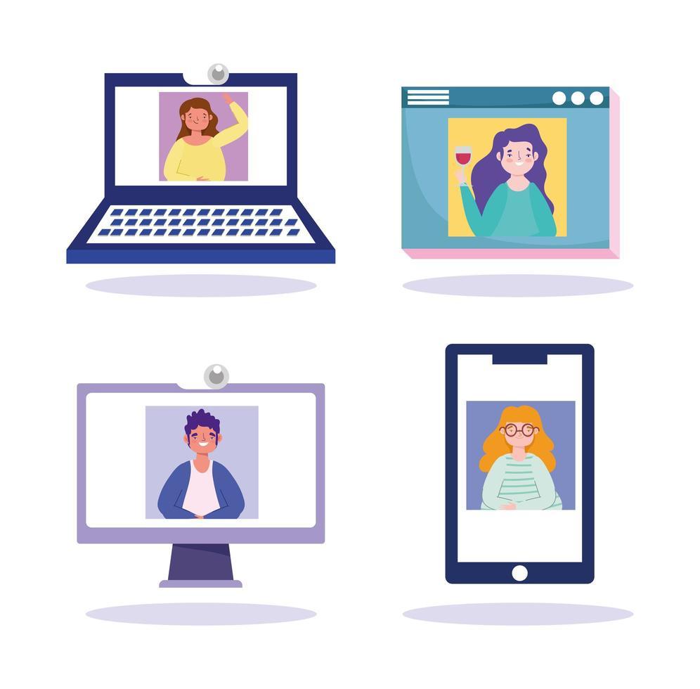 set di icone di dispositivi online collegati per una riunione vettore