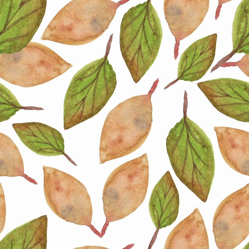acquerello foglie secche seamless pattern vettore