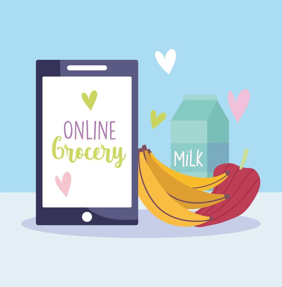 smartphone, frutta e icona di ordine online millk vettore