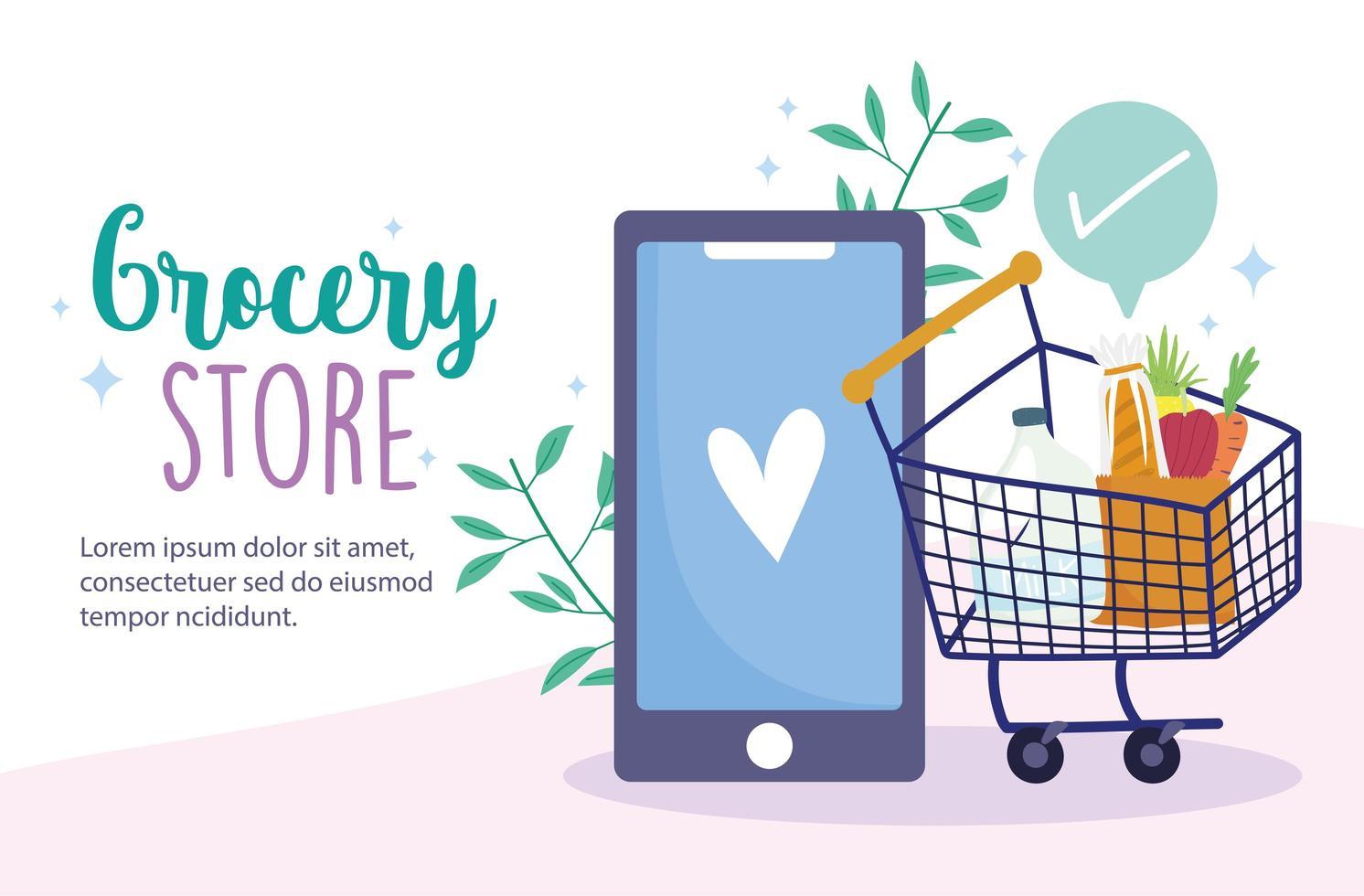 modello di banner online negozio di alimentari con telefono e carrello della spesa vettore