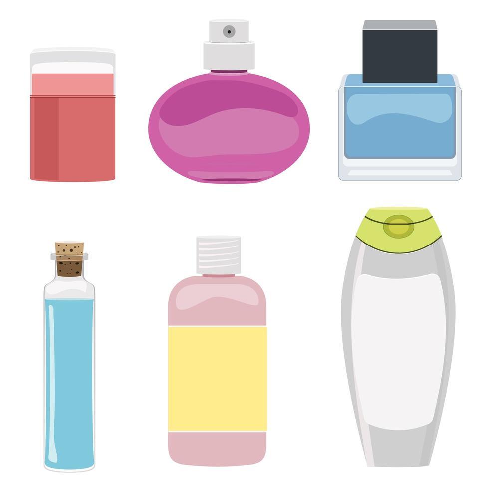 set di flaconi per cosmetici vettore