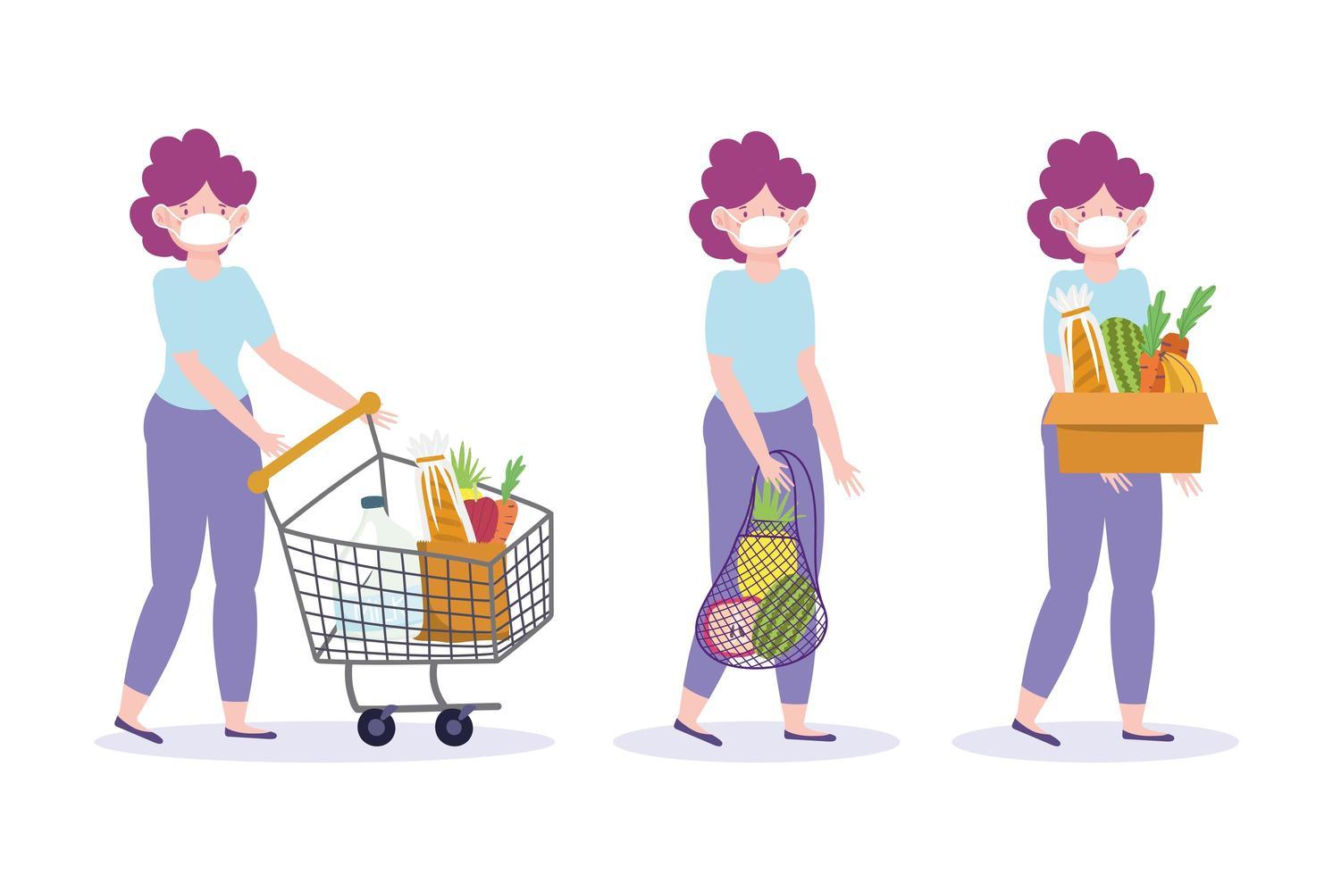 donna con un set di icone dello shopping maschera facciale vettore