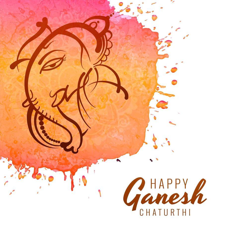 tratti di linea ganesh chaturthi festival sfondo acquerello vettore