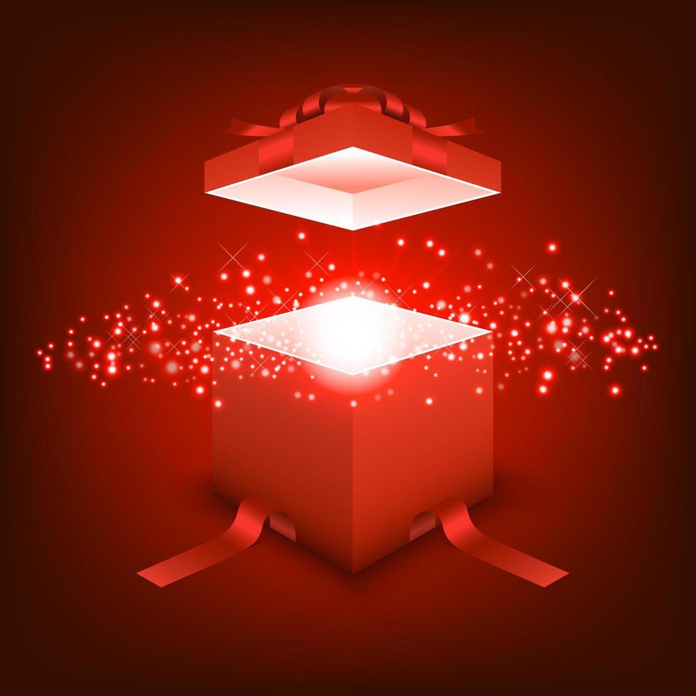 confezione regalo aperta con luce rossa a raggi vettore
