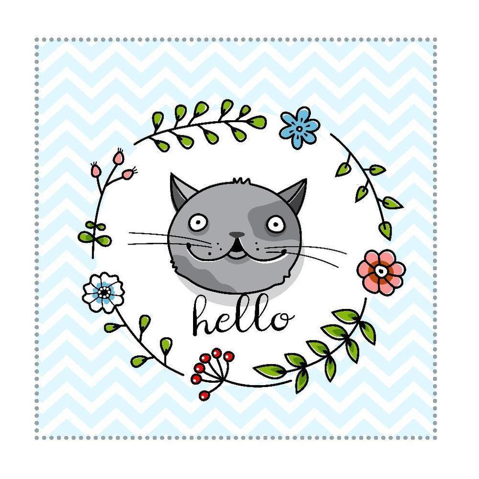 un simpatico modello di poster di gatto vettore