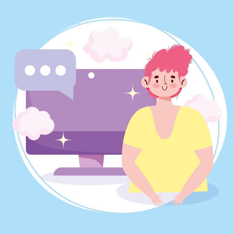 giovane in linea sullo schermo di un computer vettore